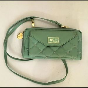 Betsey Johnson Quilted Crossbody Mint & Gold